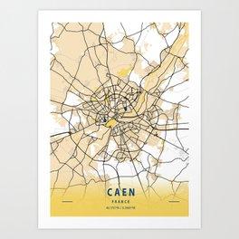 Caen Yellow City Map Art Print