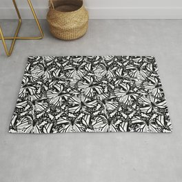 Monarch Butterflies Pattern | Butterfly Pattern | Black and White | Rug
