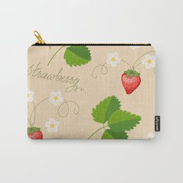 beige pattern with strawberry Carry-All Pouch