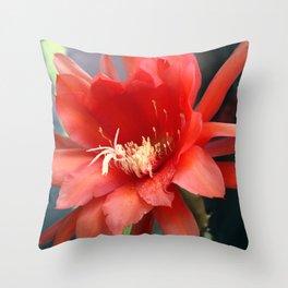 Jungle Cactus Red Throw Pillow