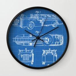 Fire Truck Patent - Aerial Fireman Truck Art - Blueprint Wall Clock
