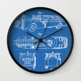 Fire Truck Patent - Aerial Fireman Truck Art - Blueprint Wall Clock