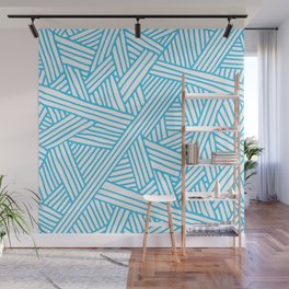 Abstract Teal & white Lines and Triangles Pattern - Mix and Match with Simplicity of Life Wall Mural
