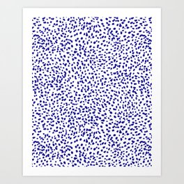 Vonnie - abstract minimal indigo blue dalmatian dots brushstrokes animal print monochromatic print Art Print