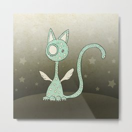 Winged polka-dotted blue cat and stars Metal Print