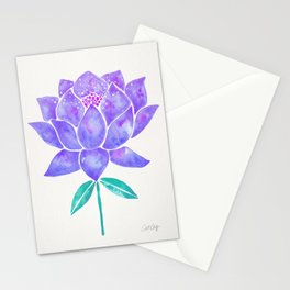 Sacred Lotus Blossom – Amethyst Turquoise Stationery Cards