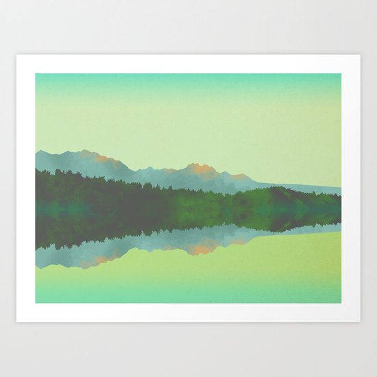 Lake Morning - Green Art Print
