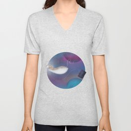 Marty's Space Adventure, round space illustration, colourul, rat art, digital illustration Unisex V-Neck