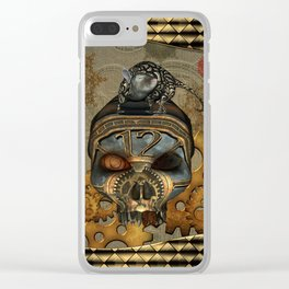 Steampunk, awesome steampunk skull with steampunk rat Clear iPhone Case
