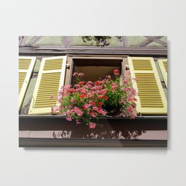 Colorful French Window with Geraniums and Yellow Shutters Metal Print