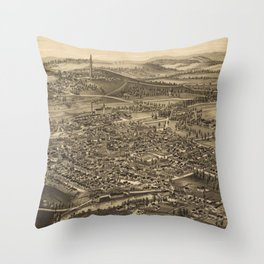 Vintage Pictorial Map of Bennington Vermont (1887) Throw Pillow