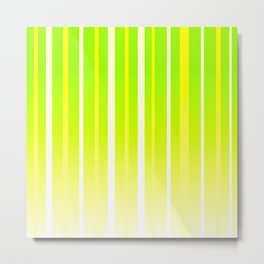 Dissolving Stripes Pattern in Bright Spring Green and Yellow Metal Print