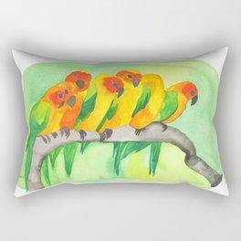 Parrots In A Row Rectangular Pillow
