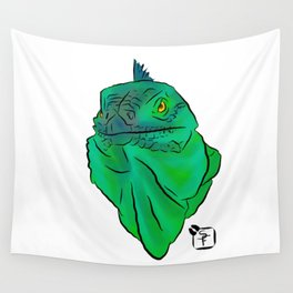 Teal and Green Iguana Wall Tapestry