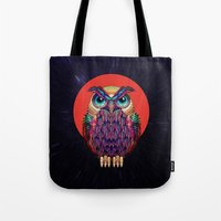 owl Tote Bags featuring OWL 2 by Ali GULEC