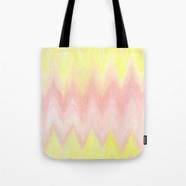 Geometrical blush pink yellow watercolor ikat pattern Tote Bag