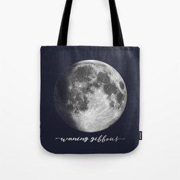 Waxing Gibbous Moon on Navy English Tote Bag