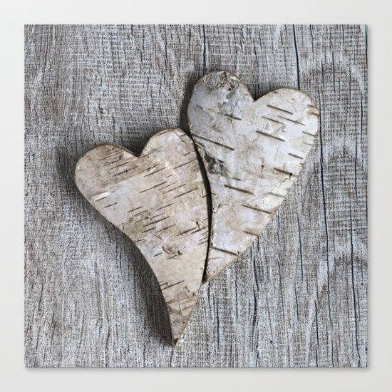 two wooden hearts love symbol Canvas Print