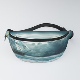 Blue Ocean Ship Storm Clouds Fanny Pack