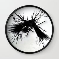 crow Wall Clocks featuring Crow by anipani