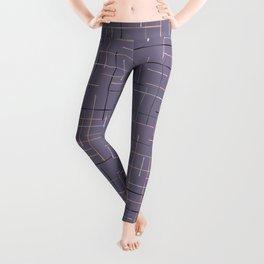 Criss Cross Lavender Maze Vector Pattern Leggings