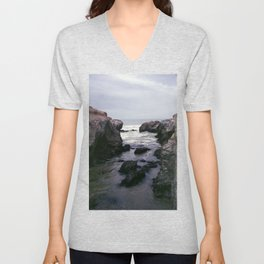 Dark and Rocky Coastline Unisex V-Neck