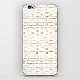 White & Gold Arrow Pattern iPhone Skin