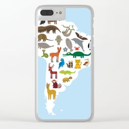 South America sloth anteater toucan lama bat fur seal armadillo boa manatee monkey dolphin Clear iPhone Case