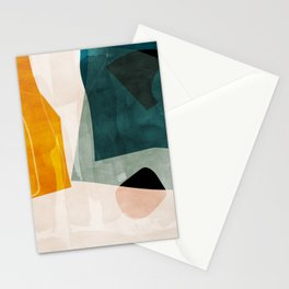 mid century shapes abstract painting 3 Stationery Cards