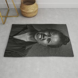 Angry woman on dark background Rug
