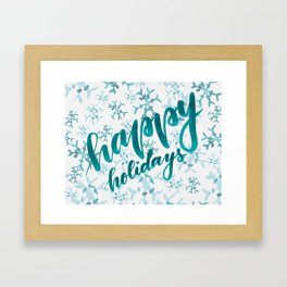 Happy Holidays - teal Framed Art Print