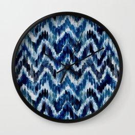 Watercolor Ikat Chevron Wall Clock