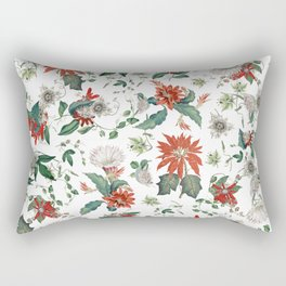 Festive Red Green Botanical Poinsettia Cactus Floral Pattern Rectangular Pillow