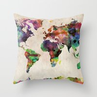 world map Throw Pillows featuring World Map Urban Watercolor by artPause