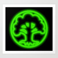 magic the gathering Art Prints featuring Magic the Gathering, Neon Green Mana by Thorn Blackstar