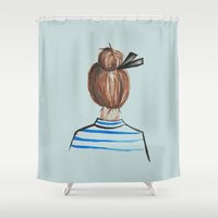 bonjour Shower Curtains featuring Bonjour by Work Play
