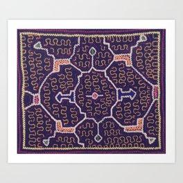 Song to Bring Wealth & Prosperity - Traditional Shipibo Art - Indigenous Ayahuasca Patterns Art Print