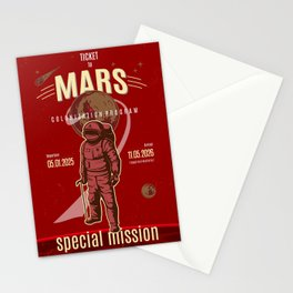 Ticket to Mars. Space and science lovers gift Stationery Cards