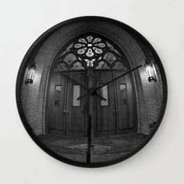 Church Doors B&W Wall Clock