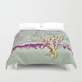 Winter Trees Purple Teal Gold Buffalo by CheyAnne Sexton Duvet Cover