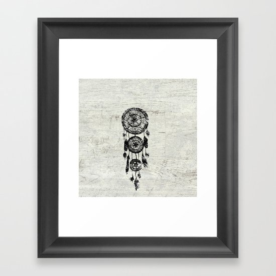Hipster Lace black dreamcatcher on white wood Framed Art Print