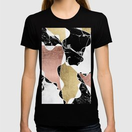 Modern white black marble rose gold foil color block handdrawn geometric lines T-shirt