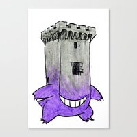 gengar Canvas Prints featuring Castle Gengar by notalkingplz