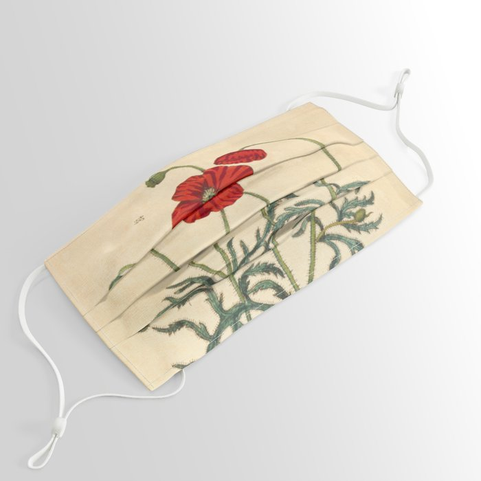 """Red Poppy by Elizabeth Blackwell from """"A Curious Herbal,"""" 1737 (benefits The Nature Conservancy) Face Mask"""