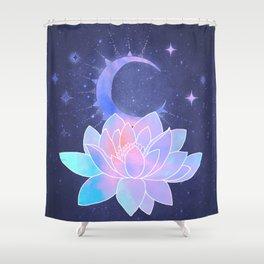 moon lotus flower Shower Curtain