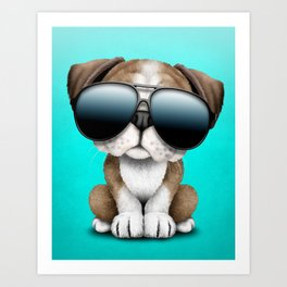 Cute British Bulldog Puppy Wearing Sunglasses Art Print