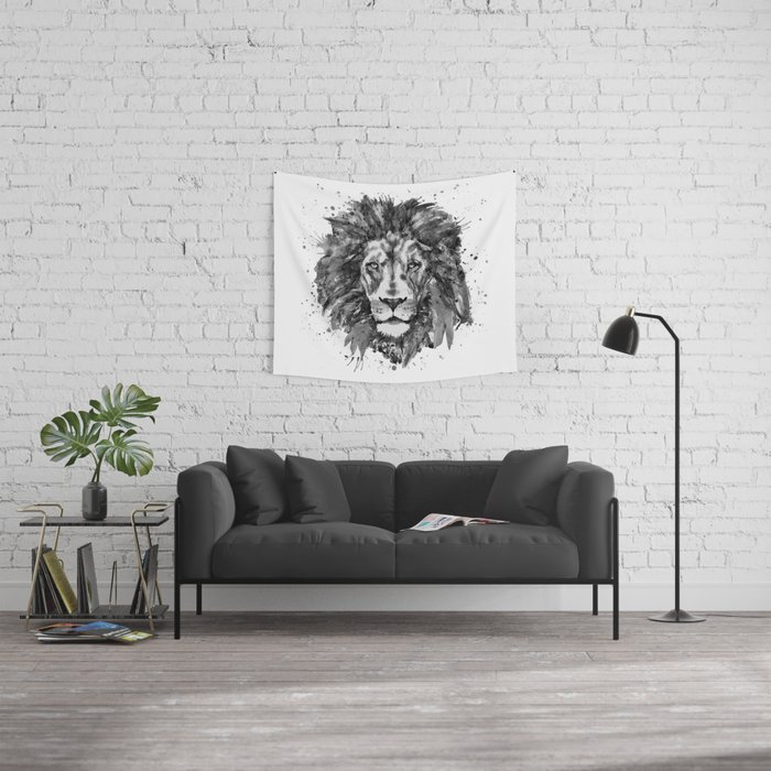 Black and White Lion Head Wall Tapestry