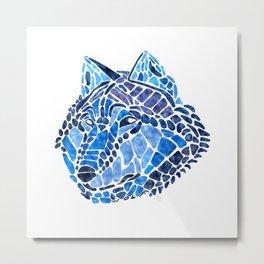 Blue Wolf Painted Mosaic Illustration Metal Print