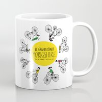tour de france Mugs featuring Yorkshire Tour de France Grand Départ V by Holly Fisher@SpenceCreative