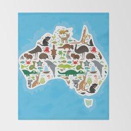 map of Australia. Echidna Platypus ostrich Emu Tasmanian devil Cockatoo parrot Wombat snake turtle Throw Blanket